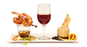 food-scrimp-wine-desert