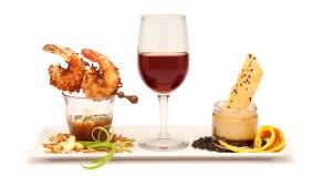food-scrimp-wine-desert